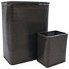 Chelsea Collection Hamper with Matching Square Wastebasket, ESPRESSO