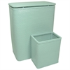 Redmon Chelsea Collection Hamper with Matching Square Wastebasket, MYSTIC GREEN
