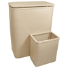Chelsea Collection Hamper with Matching Square Wastebasket, MOCHA