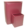 Redmon Chelsea Collection Hamper with Matching Square Wastebasket, RASPBERRY