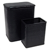 Chelsea Pattern Wicker Nursery Hamper and Matching Wastebasket Set, Black