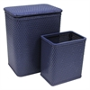 Chelsea Pattern Wicker Nursery Hamper and Matching Wastebasket Set, Coastal Blue