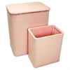 Chelsea Pattern Wicker Nursery Hamper and Matching Wastebasket Set, Crystal Pink