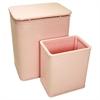 Redmon Chelsea Pattern Wicker Nursery Hamper and Matching Wastebasket Set, Crystal Pink