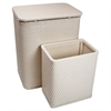 Redmon Chelsea Pattern Wicker Nursery Hamper and Matching Wastebasket Set, Cream