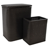 Redmon Chelsea Pattern Wicker Nursery Hamper and Matching Wastebasket Set, Espresso