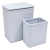 Chelsea Pattern Wicker Nursery Hamper and Matching Wastebasket Set, Illusion Blue