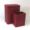 Redmon Chelsea Pattern Wicker Nursery Hamper and Matching Wastebasket Set, Raspberry
