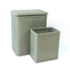 Chelsea Pattern Wicker Nursery Hamper and Matching Wastebasket Set, Sage Green