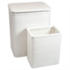 Chelsea Pattern Wicker Nursery Hamper and Matching Wastebasket Set, White
