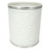 Traditional Times Quilted Rose Pattern Round Vinyl Wastebasket, White/Silver