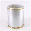 Bath Jewelry Diamond Pattern Round Vinyl Wastebasket, Silver/Gold