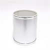 Redmon Bath Jewelry Diamond Pattern Round Vinyl Wastebasket, Silver/Silver