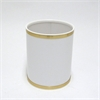 Bath Jewelry Diamond Pattern Round Vinyl Wastebasket, White/Gold