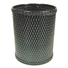 Redmon Chelsea Collection Decorator Color Round Wicker Wastebasket, Black