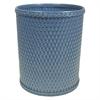 Redmon Chelsea Collection Decorator Color Round Wicker Wastebasket, Coastal Blue