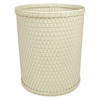 Redmon Chelsea Collection Decorator Color Round Wicker Wastebasket, Cream