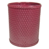 Redmon Chelsea Collection Decorator Color Round Wicker Wastebasket, Raspberry