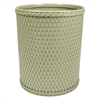 Redmon Chelsea Collection Decorator Color Round Wicker Wastebasket, Sage Green