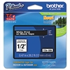 "Brother P-Touch TZe Standard Adhesive Laminated Labeling Tape, 1/2""w, White on Black"