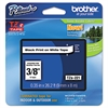 "Brother P-Touch TZe Standard Adhesive Laminated Labeling Tape, 3/8""w, Black on White"