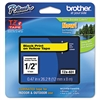 "Brother P-Touch TZe Standard Adhesive Laminated Labeling Tape, 1/2""w, Black on Yellow"