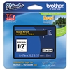 "Brother P-Touch TZe Standard Adhesive Laminated Labeling Tape, 1/2""w, Gold on Black"
