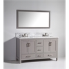 """Legion furniture 60"""" Solid Wood Sink Vanity With Mirror-No Faucet, Light Gray"""