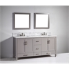 "Legion furniture 72"" Solid Wood Sink Vanity With Mirror-No Faucet, Light Gray"