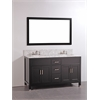 """Legion furniture 60"""" Solid Wood Double Sink Vanity With Mirror-No Faucet, Espresso"""