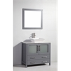 "Legion furniture 36"" Solid Wood Sink Vanity With Mirror-No Faucet, Dark Gray"