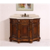 "Legion furniture 48"" Solid Wood Sink Vanity With Travertine-No Faucet, Medium Brown"