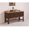 "59"" Solid Wood Sink Vanity With Travertine Top And Bowl-No Faucet, Walnut"