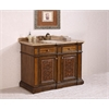 "Legion furniture 48"" Solid Wood Sink Vanity With Travertine-No Faucet, Light Walnut"