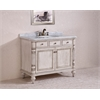"Legion furniture 47"" Solid Wood Sink Vanity With Marble Top-No Faucet And Backsplash, Antique White"