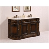 "Legion furniture 66"" Solid Wood Sink Vanity With Marble-No Faucet And Backsplash, Antique Brown"