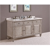 "67"" Solid Wood Sink Vanity With Marble-No Faucet And Backsplash, Antique White"