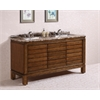 "Legion furniture 67"" Solid Wood Sink Vanity With Marble-No Faucet And Backsplash, Light Walnut"