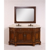 "Legion furniture 68"" Solid Wood Sink Vanity With Travertine-No Faucet And Backsplash, Antique Brown"