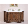 "68"" Solid Wood Sink Vanity With Marble Top-No Faucet And Backsplash, Anitque Tan"