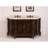 "67"" Solid Wood Sink Vanity With Travertine Top-No Faucet And Backsplash, Antique Brown"