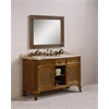 "60"" Solid Wood Sink Vanity With Marble-No Faucet, Light Brown"