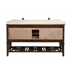 "65"" Solid Wood Sink Vanity With Travertine-No Faucet And Backsplash, Walnut"
