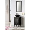 "18.5"" Black Color Wood Sink Vanity With Glass Top-No Faucet, Matt Black"