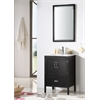 "24"" Black Color Wood Sink Vanity With Ceramic Top-No Faucet, Matt Black"