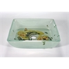 "Tempered Glass 1/2"" Thick, 15"" X 15"", 4"" Height. Matching Chrome Pop-Up Drain And Mounting Ring, Lotus Pad"