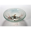"Tempered Glass 1/2"" Thick, 16.5"" Diameter, 5.5"" Height Matching Chrome Pop-Up Drain And Mounting Ring, Bird In The Spring"