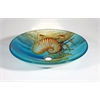 """Tempered Glass 1/2"""" Thick, 17.7"""" Diameter, 4.3"""" Height Matching Chrome Pop-Up Drain And Mounting Ring, Seashell"""