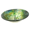 "Legion furniture Tempered Glass, Round, 100% Hand-Painted, 0.6"" Thick, 17"" Diameter, 5.5"" Height, Green Bamboo"