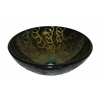 """Tempered Glass 1/2"""" Thick, 16.5"""" Diameter, 5.5"""" Height Matching Chrome Pop-Up Drain And Mounting Ring, Abstract"""